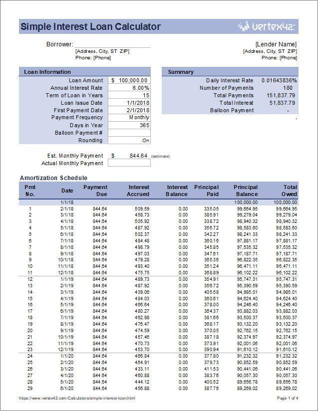Mortgage Calculator Download The Simple Interest Loan Calculator