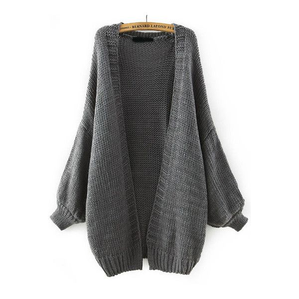 SheIn(sheinside) Grey Batwing Long Sleeve Knit Loose Cardigan ($29) ❤ liked on Polyvore featuring tops, cardigans, grey, batwing tops, grey cardigan, gray knit cardigan, gray top and grey top