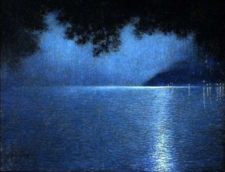 Lucien Lévy-Dhurmer 1865-1853 , peintre pastelliste français  Le lac la nuit 1910 , pastel