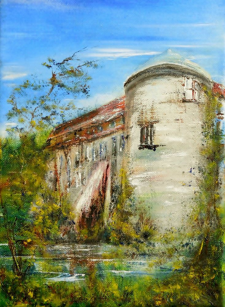 Öl Gemälde Wasserburg Neuhaus Turm Mittelalter Hajewski Leinwand Natur Leinen