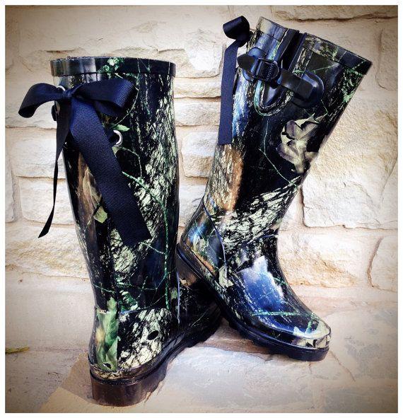 Monogram Rain Boots with Bows, Camo Rain Boots with Bows, Custom ...