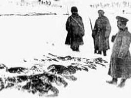 Battle of Sarikamish - Russians collecting the frozen bodies of Turkish soldiers. The Ottoman 3rd Army started with 118,000 fighting men. It was reduced to 42,000 effective soldiers in January 1915. The casualties of the conflict escalated beyond the end of the active warfare period as the most immediate problem confronting the 3rd Army became the typhus epidemic.