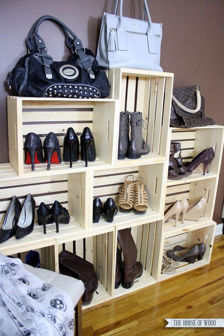 des caisses en bois pour le rangement des chaussures boutique pinterest caisses en bois. Black Bedroom Furniture Sets. Home Design Ideas