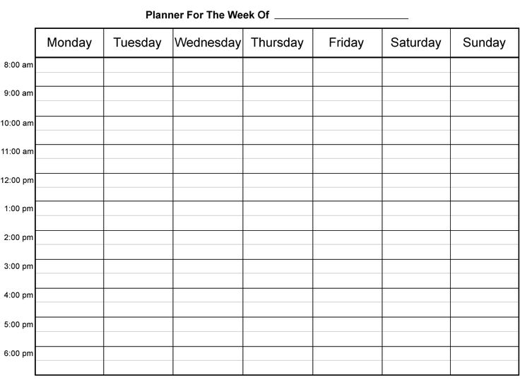 Daily Week Calendar agenda calendar template. mon-sun weekly work schedule template