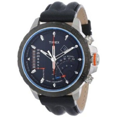 Relógio Timex Men's T2P274DH Intelligent Quartz Adventure Series Linear Indicator Chronograph Black Leather Strap Watch... #Relogio #Timex