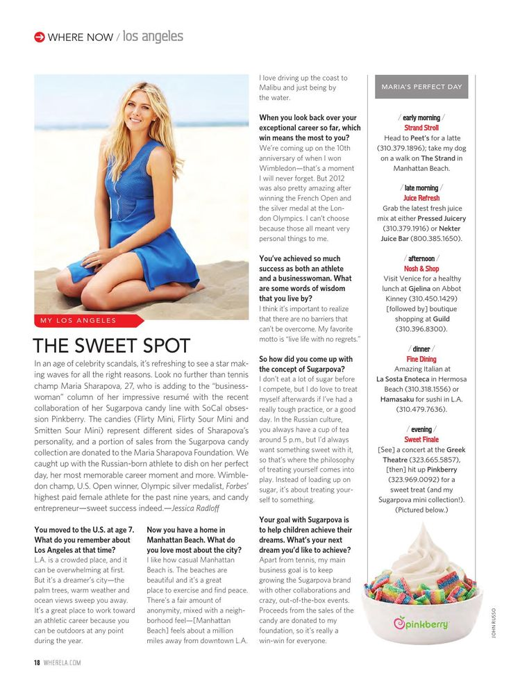 """In an age of celebrity scandals, it's refreshing to see a star making waves for all the right reasons."" Where LA Magazine recently caught up with Maria Sharapova to chat about the motivation behind Sugarpova and exactly what time of the day she enjoys her sweet treats. #Sugarpova #LAMagazine"