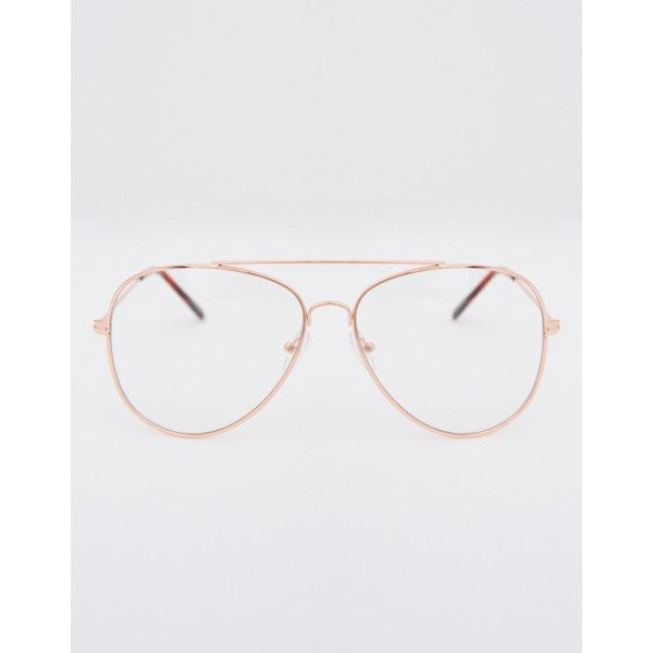 Aviator Clear Glasses ($9) ❤ liked on Polyvore featuring accessories, eyewear, eyeglasses, rose gold, clear aviators, rose gold glasses, aviator eyewear, colorful eyeglasses and colorful glasses