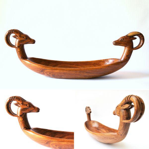 Skulpturen - Ägyptische Gazelle Boot Dekor, Platte, Holz Skulpt - ein Designerstück von Omar-Handmade bei DaWanda