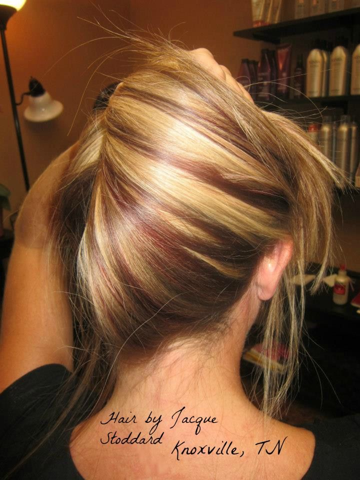Hair Hilite-lowlite-auburn-red-blonde-waves-long hair ... |Red Brown Hair Color With Blonde Highlights