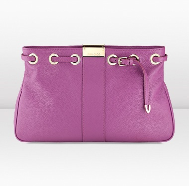 Jimmy Choo Reed Orchid Grainy Calf Leather In Hand Clutch
