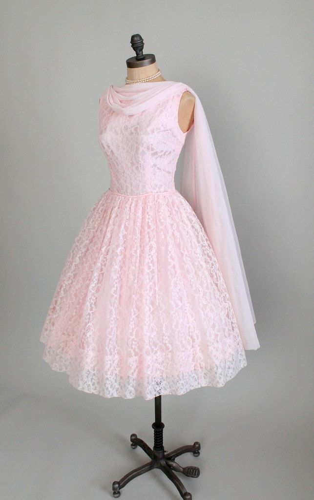 Vintage 1950s Dress 50s Pink Lace Prom Wedding Dress