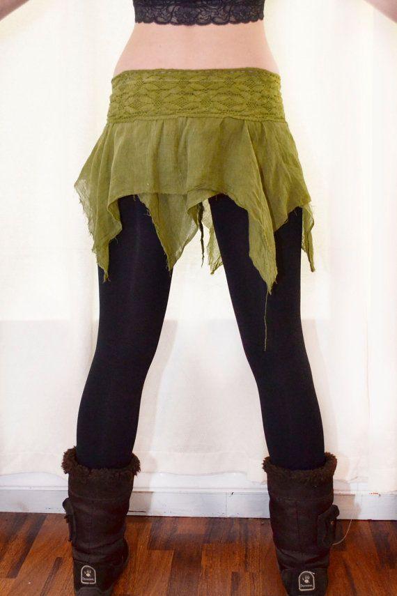 Mini pixie skirt forest. Lace skirt. Eco. Earthy skirt. Fairy, goddess, forest, woodlands, elf, tribal. tie dye. Organic
