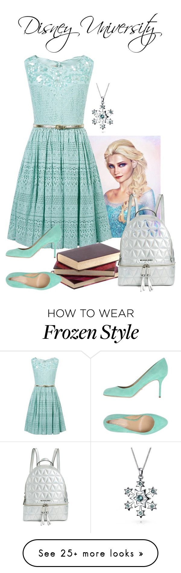 """Disney University-Elsa's first day"" by thespian-at-large on Polyvore featuring Disney, Monsoon, Sergio Rossi, Bling Jewelry and MICHAEL Michael Kors"