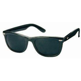 1980's Black Wayfarer Style Fashion Sunglasses with Super Dark Lens - Black Private Island. $2.99