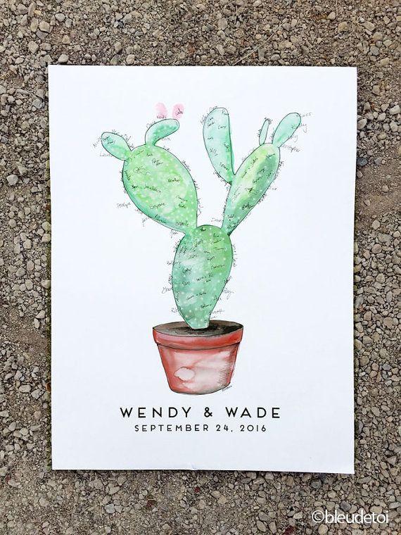 Wedding Guest Book Alternative, signature guestbook, Watercolor Cactus, Prickly Pear Cactus, (w/1 ink pad + pen), Like Fingerprint Tree