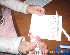 learn about Helen Keller and write your name in braille