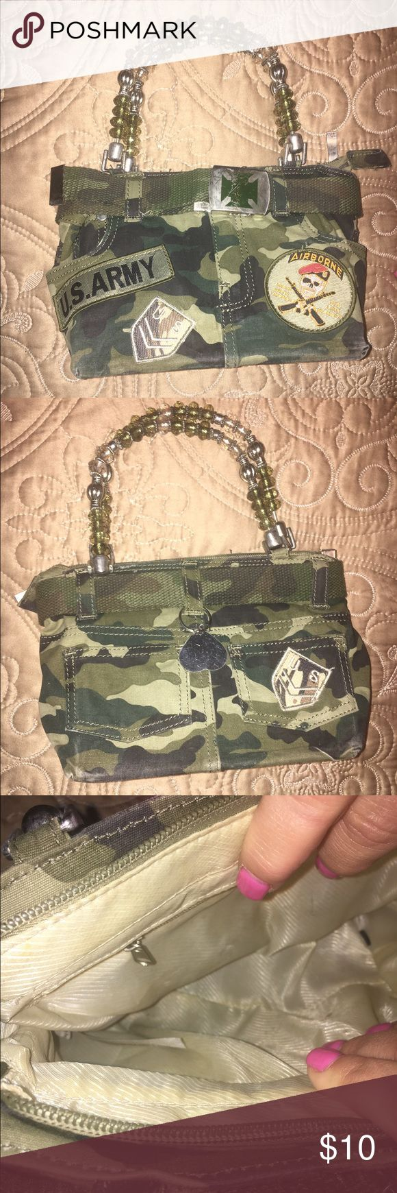 """U.S. Army Camo Bag U.S. Army Camo Bag with Airborne patch. Some wear to the front buckle. Great condition overall, barely used. 8"""" inches horizontal and 6.5"""" inches vertical. Bags Mini Bags"""