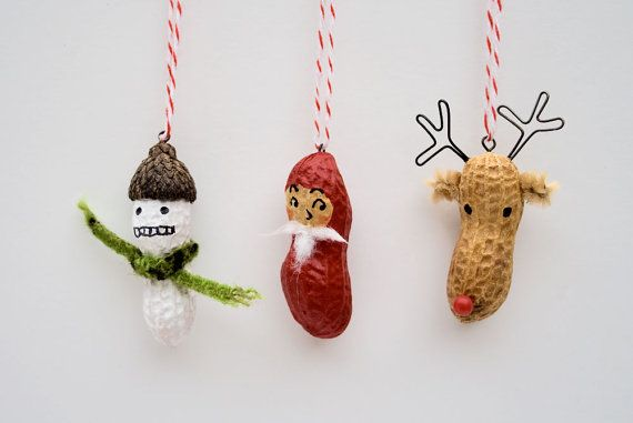Christmas Ornaments - funny painted peanuts