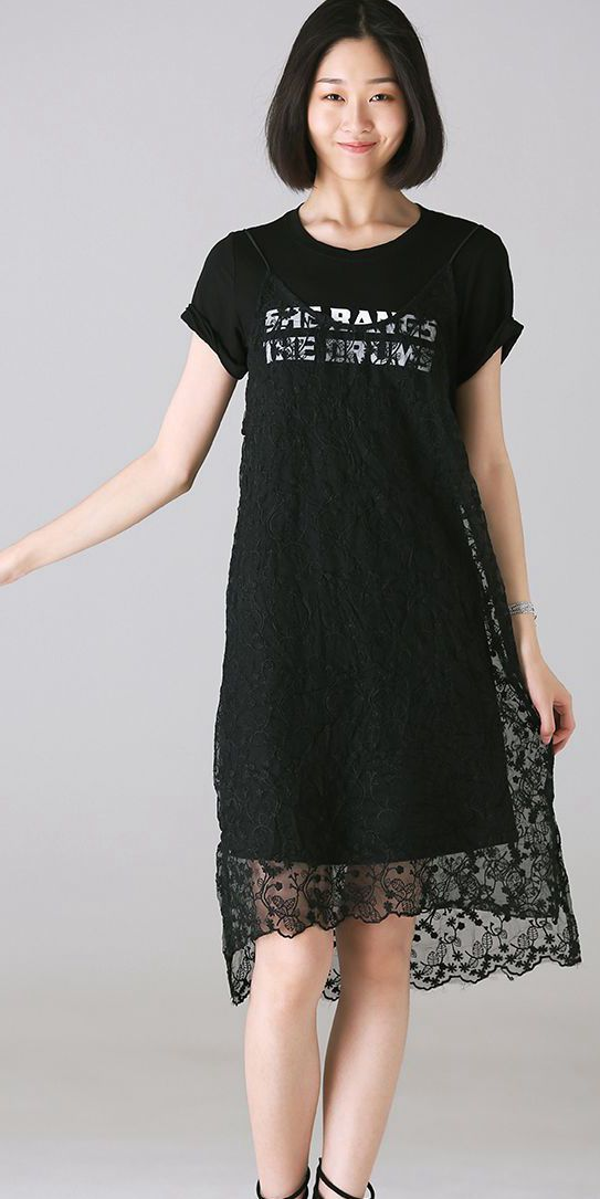 Cute Casual Long T Shirt With Lace Dresses U2327  e45426a39