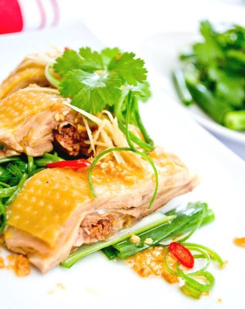 Succulent and tender chicken, poached in an aromatic stock. Dressed with seasoned soya sauce, ginger, shallots and coriander.An incre...