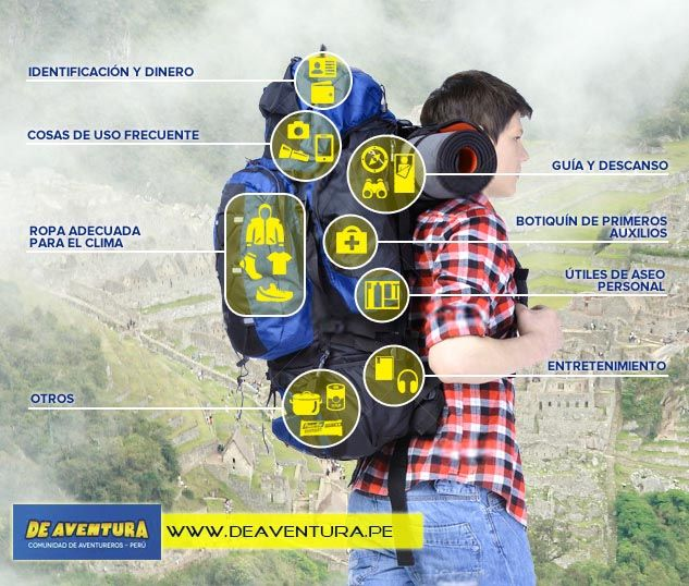 Cuántas veces te has preguntado ¿Qué cosas debo llevar en mochila #Deaventura? Aquí te damos algunos consejos básicos para armar tu equipaje. http://www.deaventura.pe/blog/que-debo-llevar-en-mi-mochila-de-aventura/