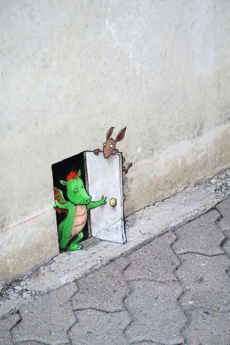 No Limit Street Art Borås, Sweden, September 2015 - David Zinn. Photo by artist.