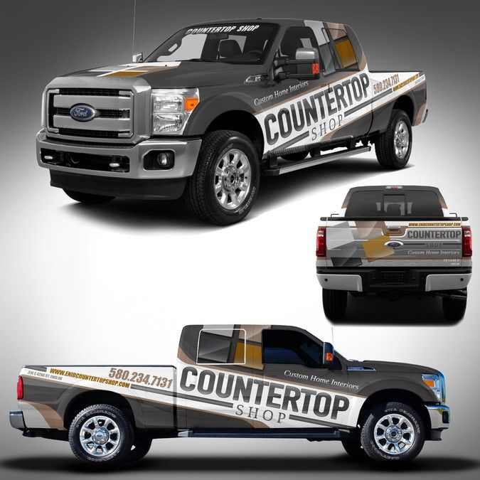 countertop shop rebranded truck wrap by j chaushev logo
