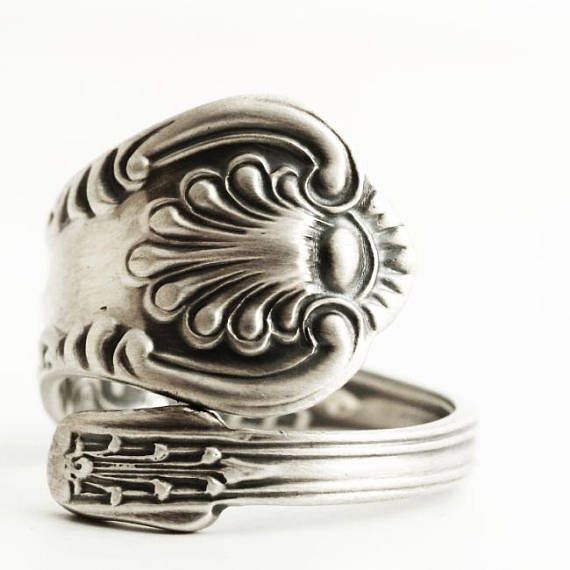 SMALL Victorian Ring Sterling Silver Spoon Ring Antique