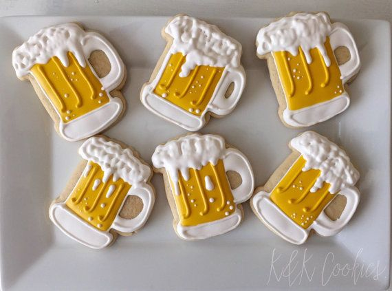 Beer Mugs royal icing sugar cookies by KKCookiesOKC on Etsy
