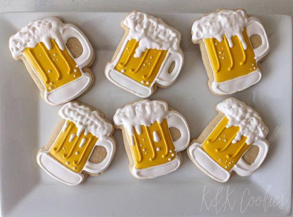 Beer Mugs royal icing sugar cookies by KKCookiesOKC on Etsy