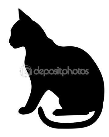 Perfil de silhueta gato preto — Ilustração de Stock #62632473