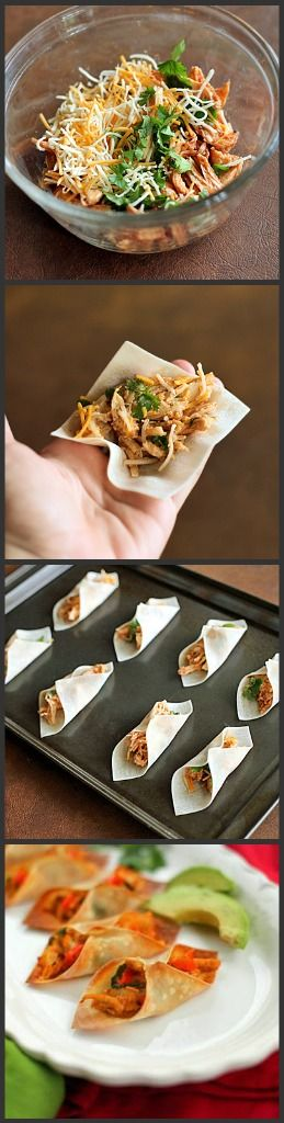 Bite-Sized Wonton Tacos -I love the concept, now I just need to figure out some fantastic way of making them vegetarian without soy.-