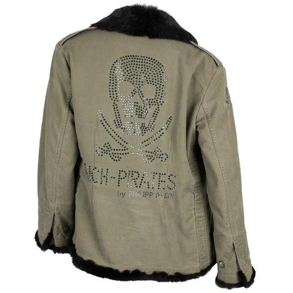 Preowned Philipp Plein Jacket - Army Green/black Fur ($1,071) ❤ liked on Polyvore featuring outerwear, jackets, coats, grey, olive green parka jacket, olive parka jacket, gray jacket, army green jacket and grey jacket