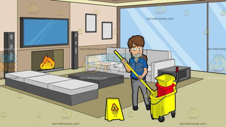 A Female Janitor Wringing Out A Mop At A Modern Comfy Living Room :  A woman with brown hair wearing a blue polo shirt gray pants dark gray belt and shoes smiles while placing the yellow mop in her hands into the yellow and red mop bucket with wringer a yellow wet floor sign is placed beside her. Set in a modern deigned living and entertainment room with glass walls light olive green flooring layered ceiling light brown walls with a big flat screen television mounted on the wall on top of a…