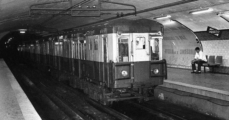 Estación Norte del metro en diciembre de 1977. Con la creación del Consorcio de Transportes de Madrid la estación cambiaría su nombre a Principe Pío para coincidir con el de la estación de Cercanías y facilitar la correspondencia entre ambos medios.
