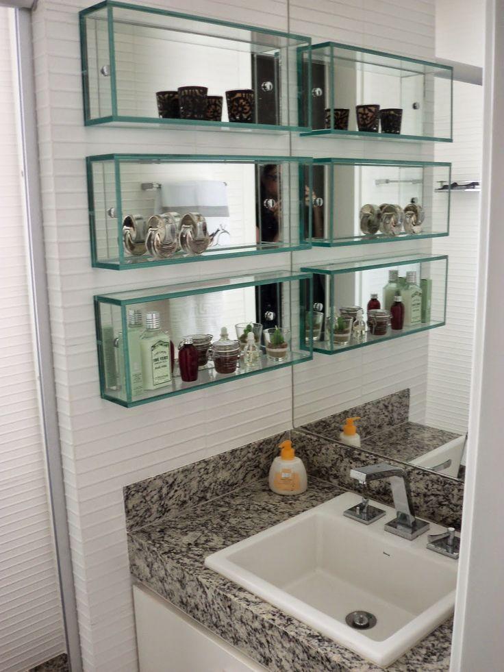 25+ melhores ideias sobre Nicho Banheiro no Pinterest  Pequenos azulejos de  -> Decoracao De Banheiro Com Prateleiras De Vidro
