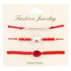 Unitaires Bracelet Kary 04 rouge et doré. Perle et flèche. grossiste bijoux tendance. grossiste bijoux colorés.