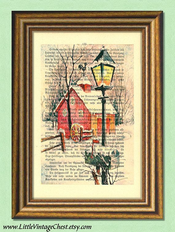 WINTER NIGHT  Christmas Print  Dictionary by littlevintagechest, $7.99