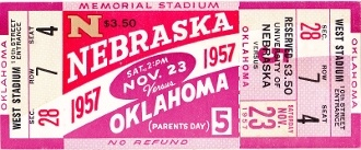 In 1957, Bud Wilkinson's Sooners lost to Notre Dame the week before this game. College football's longest winning streak came to an end, but Oklahoma bounced back and beat Nebraska.  http://www.shop.47straightposters.com/Oklahoma-Football-Tickets-OU-OSU-Tulsa-Tickets_c17.htm