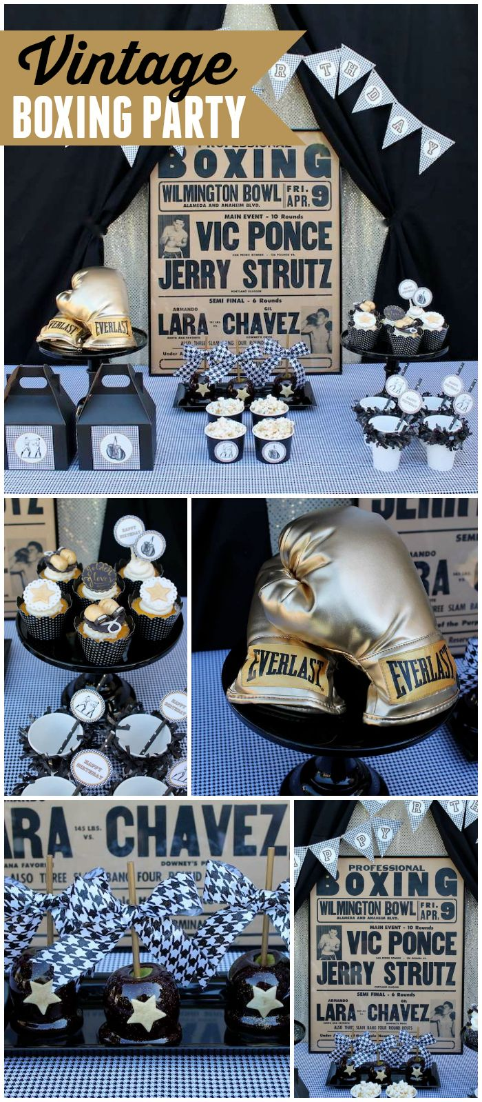 How great is this vintage boxing party with houndstooth accents! See more party ideas at CatchMyParty.com!