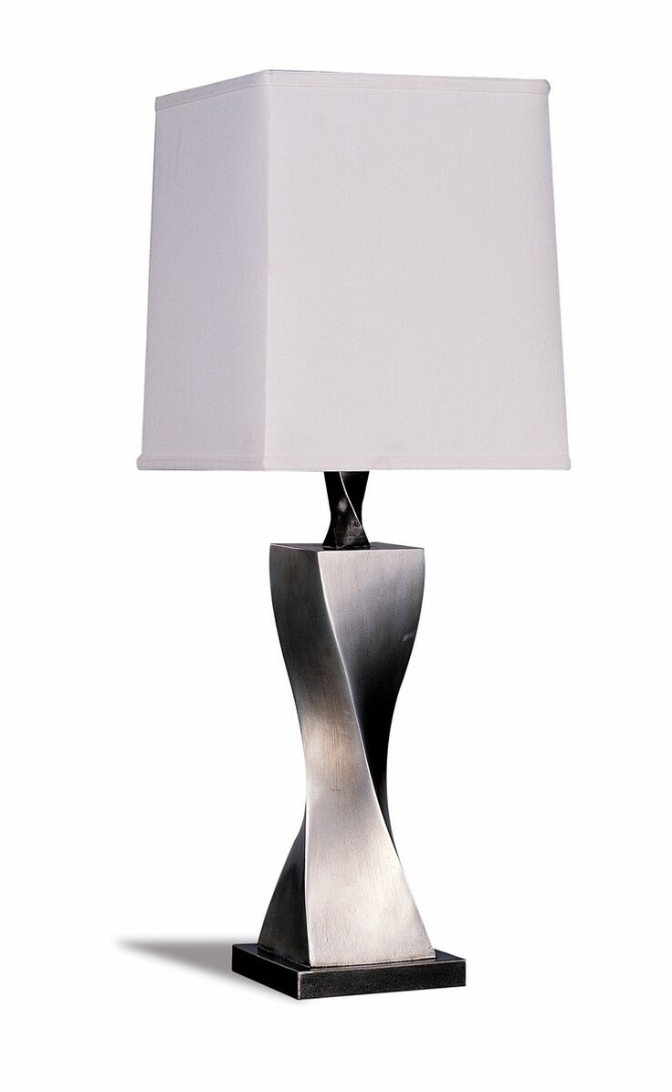 Silver lamp shades for table lamps - Set Of 2 Contemporary Antique Silver Finish Base With White Square Lamp Shade