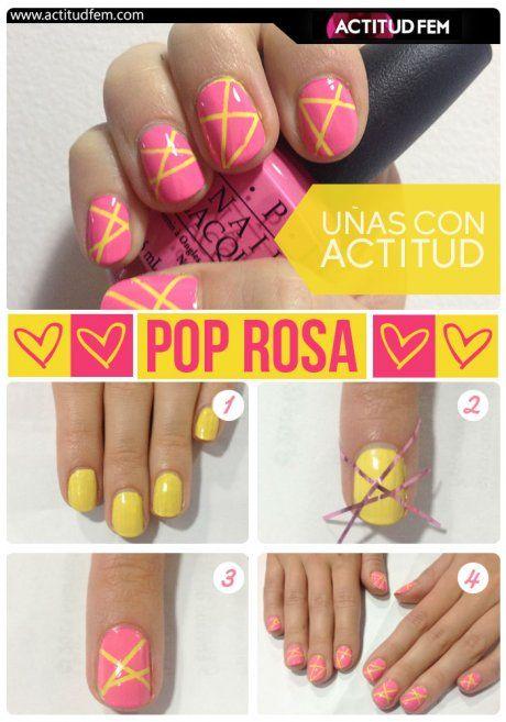 Manicure rosa con amarillo #nails #nailart #manicure #uñas #tutorial #diy #bellezafem #consejo #tip