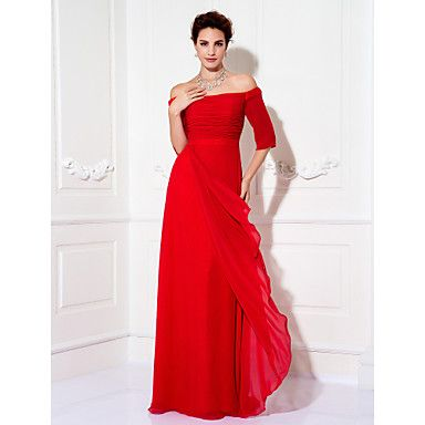 Formal Evening/Prom/Military Ball Dress - Ruby Plus Sizes Sheath/Column Off-the-shoulder Floor-length Chiffon – USD $ 79.99