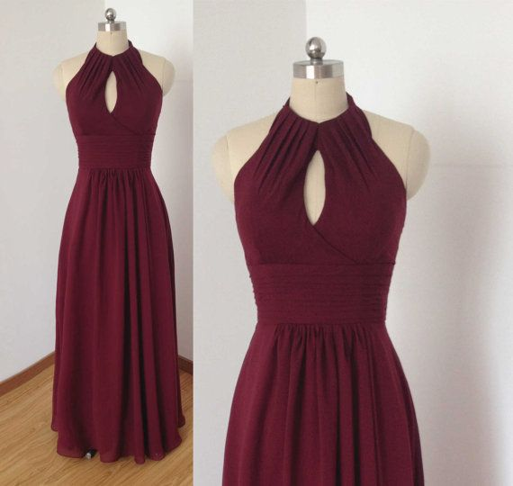Tied Halter Burgundy Chiffon Long Bridesmaid Dress