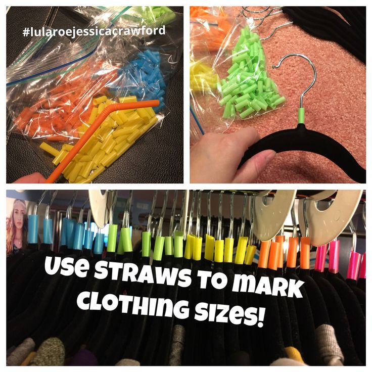 Use different colored straws to separate clothes by size and make it easy to shop and pull inventory. These are easy and cheap clothing dividers.