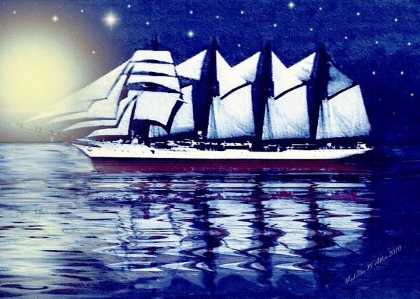 "SmudgeArt Digital Art Creation ""Moonlit Sails"""