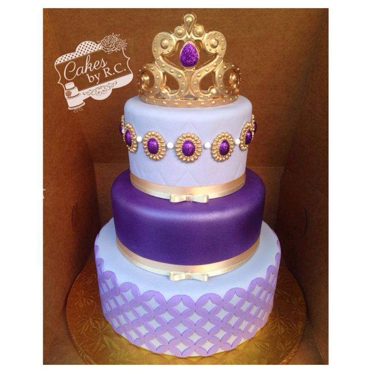 Sofia the first inspired cake - Different tones of lavender and textures. All edible tiara and gem. Center tier air brushed.