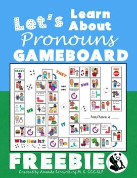 This game board is a sample from my full Let's Learn About Pronouns Language Unit. Check it out here! This download includes the small version of my game board (there is a full file folder size included in the full unit). To play: Use a die and any kind of small toy or object as a game piece.