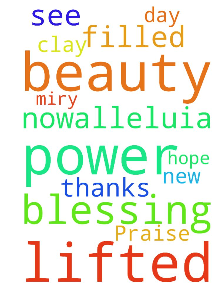 Praise Him! -   Please pray in Thanks to Him who has lifted me out of the miry clay to see the beauty of a new day filled with hope and power!!!    God is blessing us now----Alleluia!   Posted at: https://prayerrequest.com/t/dJ2 #pray #prayer #request #prayerrequest