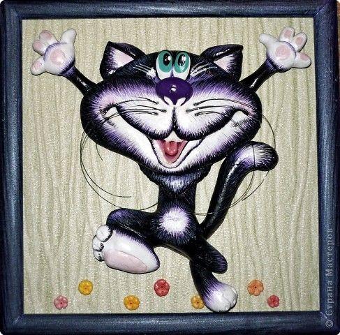 Картина панно рисунок Лепка Опять коты Тесто соленое фото 1
